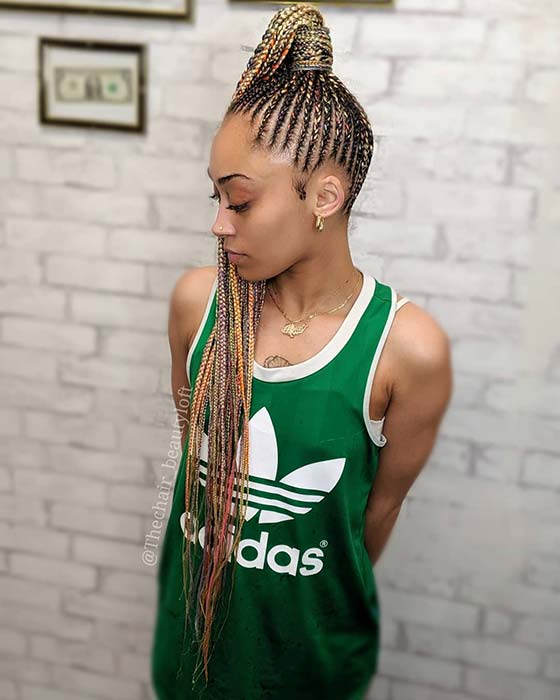 Sky High Ponytail with Colorful Braids