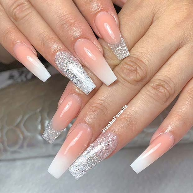 Long Silver Glitter Coffin Nails