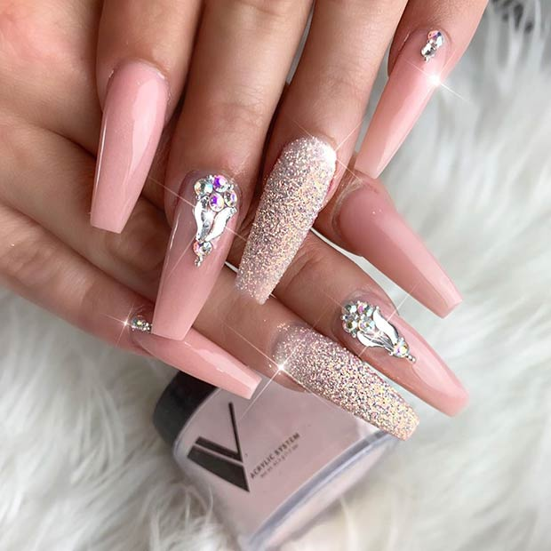 Sparkly Long Coffin Nails