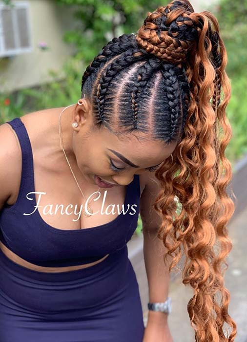 Braided Ponytail with Loose Curls