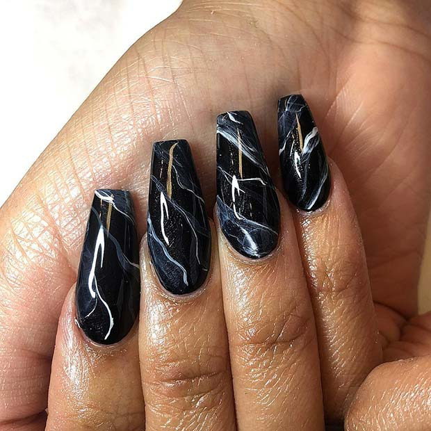 Trendy Black Marble Nail Art