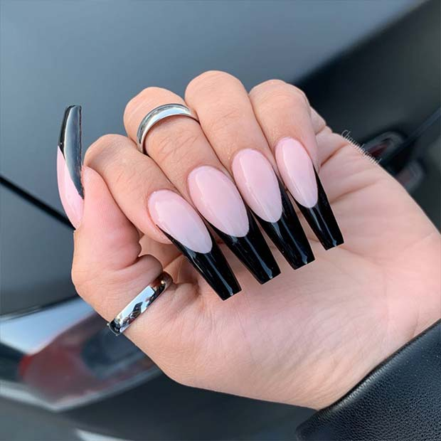 Trendy Nude Nails with Black Tips