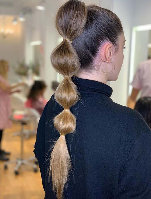 Trendy and Simple Bubble Ponytail