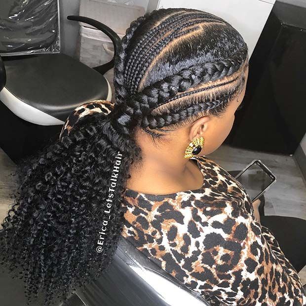Unique Feed In Braid Ponytail with Loose Curls