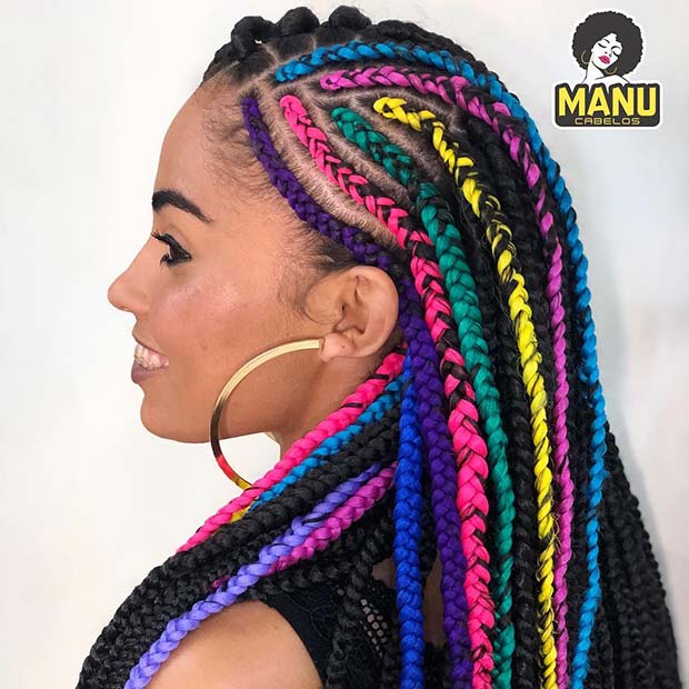 Vibrant Feed in Braids