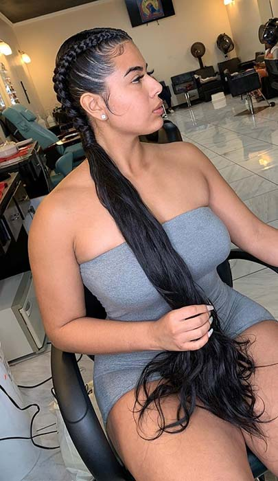 2 Feed In Braids with Loose and Sleek Hair