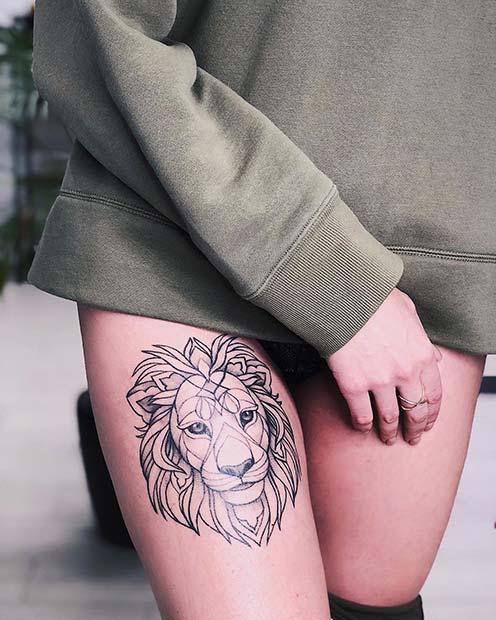 Amazing Lion Tattoo Design for Women