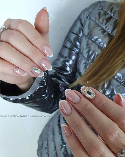 American Mani with Bling