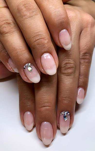 American Mani with a Rhinestone Accent Nail