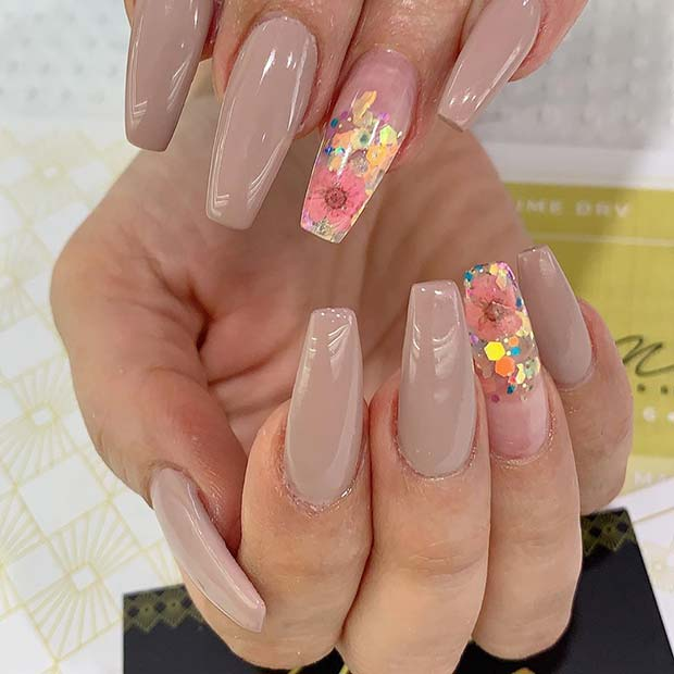 Beautiful Nude Nails with Floral Art