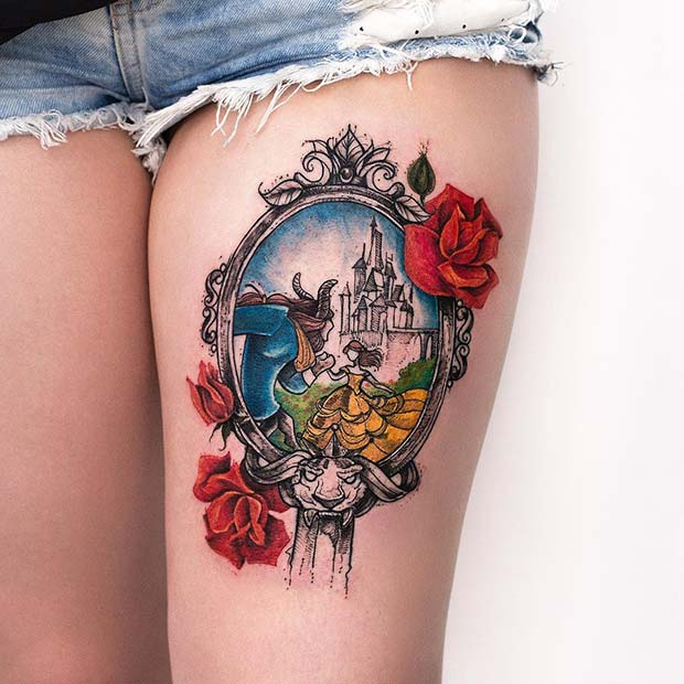 Beauty and the Beast Inspired Thigh Tattoo