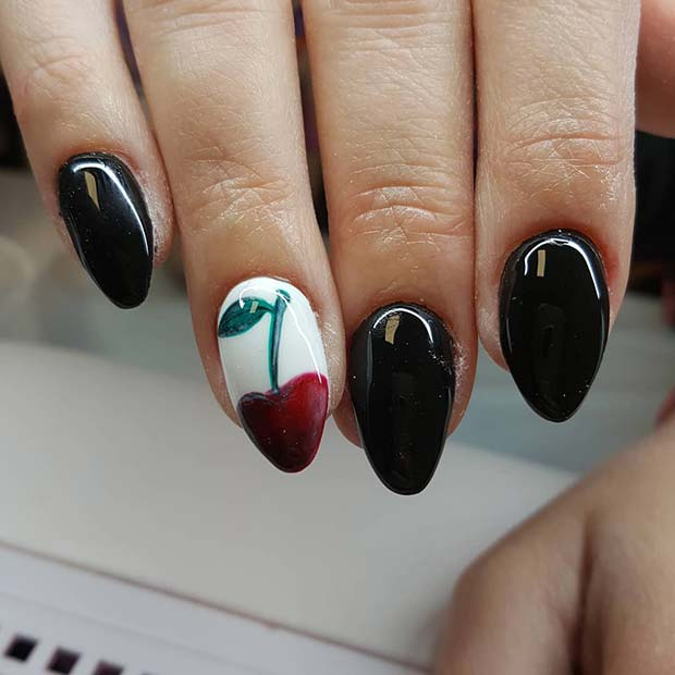 Black Nails with a Cherry Accent Nail