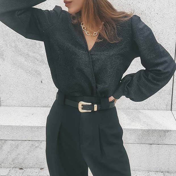 All Black Outfit with Subtle Sparkle