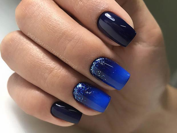 Black to Blue Ombre Short Nails