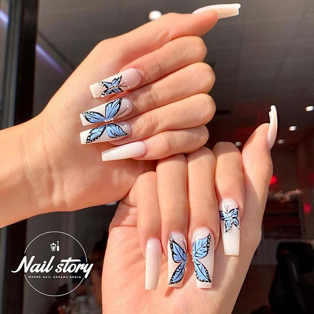 Blue Butterflies Nail Art