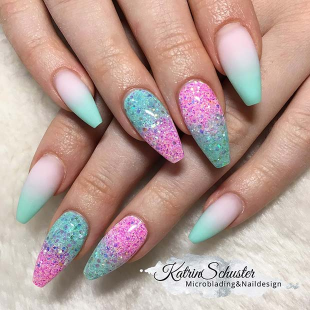 Mint Blue and Pink Ombre Nails