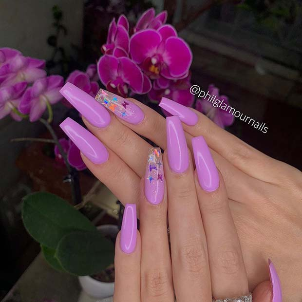 Bold Nails with Butterflies