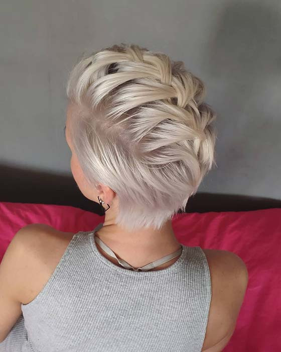 Braided Blonde Pixie Hairstyle