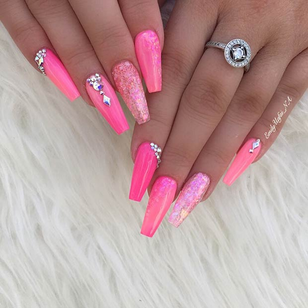 Bright Pink Nails with Rhinestones