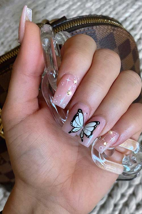 Butterfly Nail Design with Rhinestones