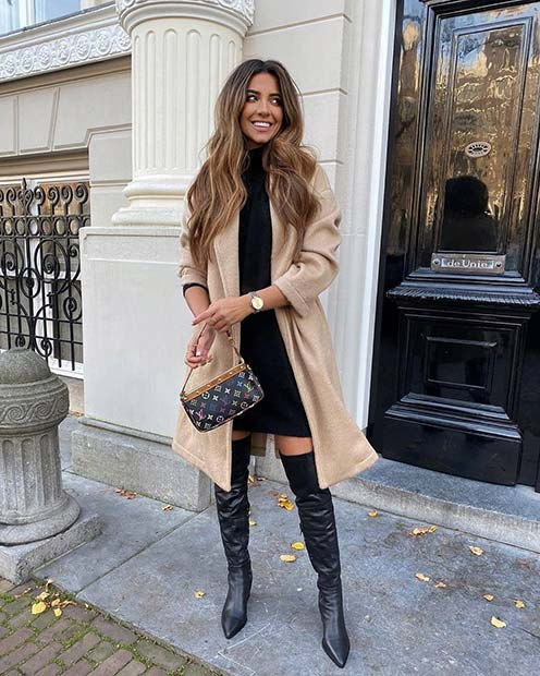 Chic Coat, Dress and Boots