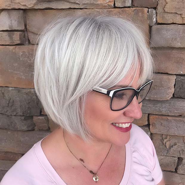 Chic Grey Hairstyle for Older Women