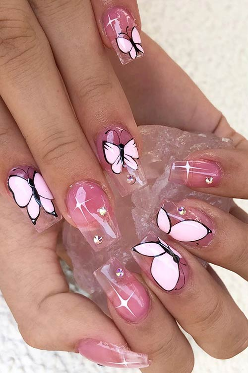 Clear Nails with Butterflies