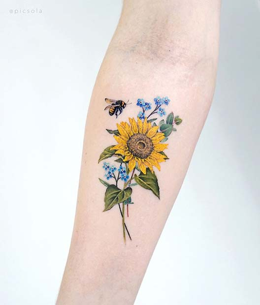 Colorful Sunflower Tattoo with a Bee