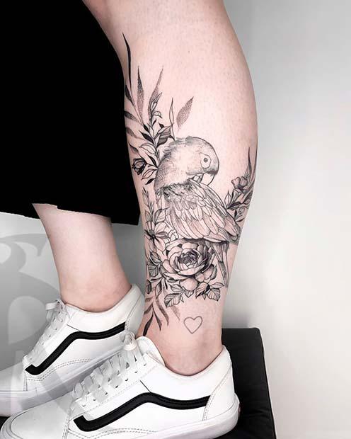 Cool Parrot Leg Tattoo