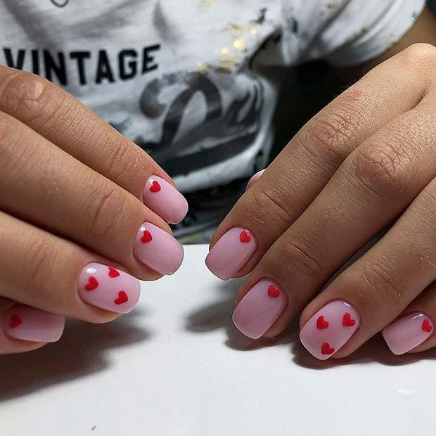 Cute Heart Nail Design for Short Nails