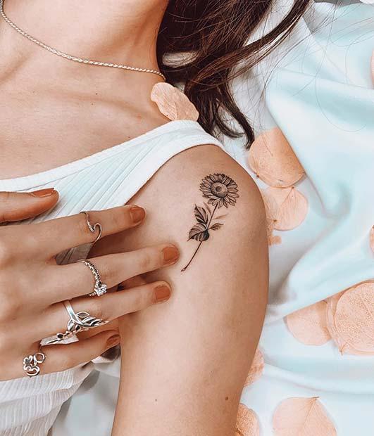 Cute Sunflower Shoulder Tattoo