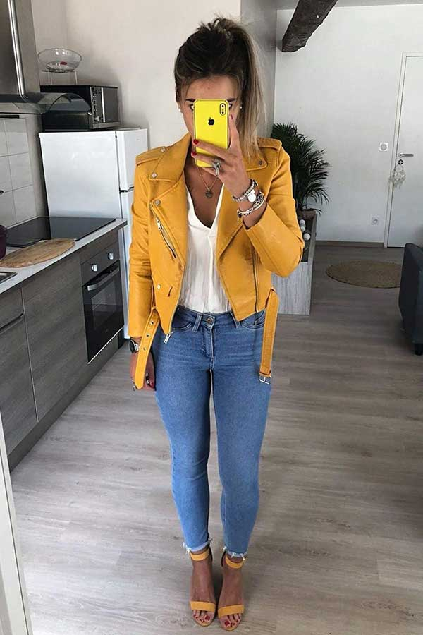 Cute Yellow Leather Jacket Outfit Idea