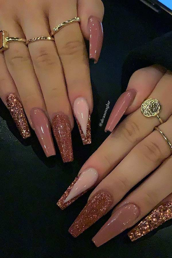 Dark Nude Glitter Nails