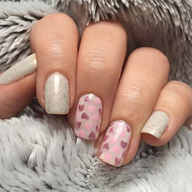 Elegant Heart Nail Art