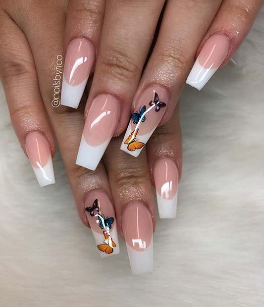 French Mani with Butterflies