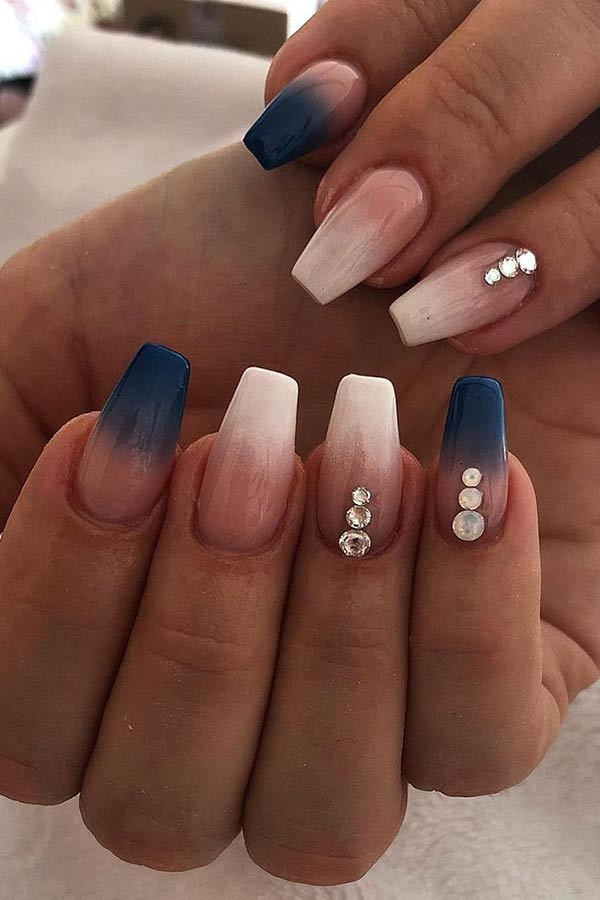 French and Blue Ombre Nails