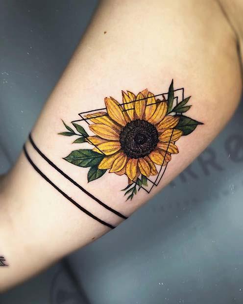 Geometric Sunflower Tattoo Design