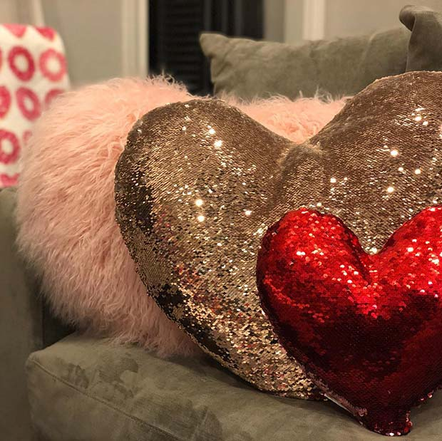 Glitzy Heart Cushions