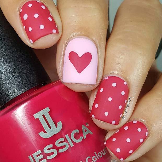 Hearts and Polka Dots Nail Design