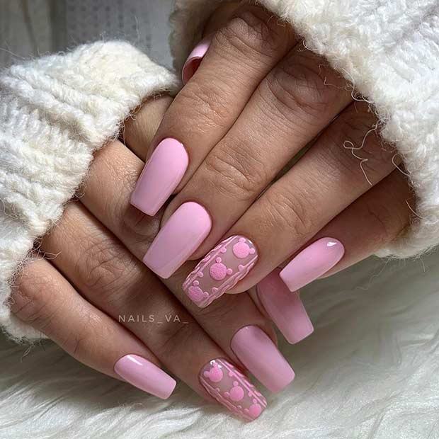 Light Pink Disney Nails