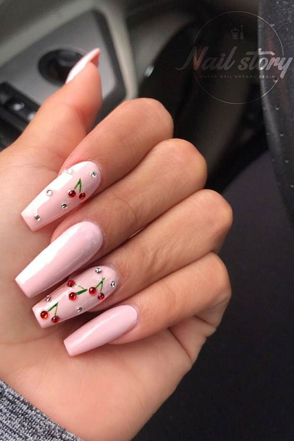 Light Pink Nails with Cherries
