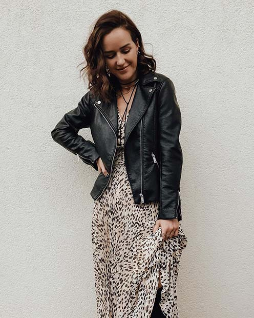 Long Dress and Biker Jacket Outfit