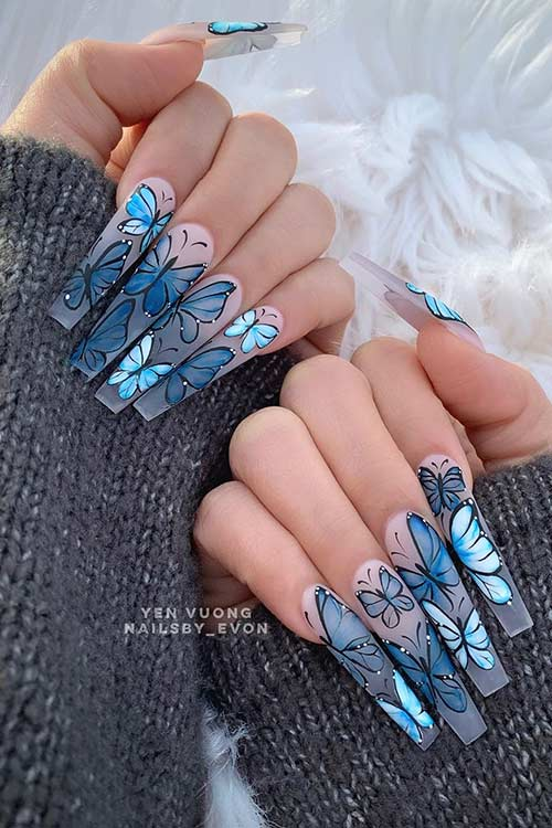 Long Matte Butterfly Nails