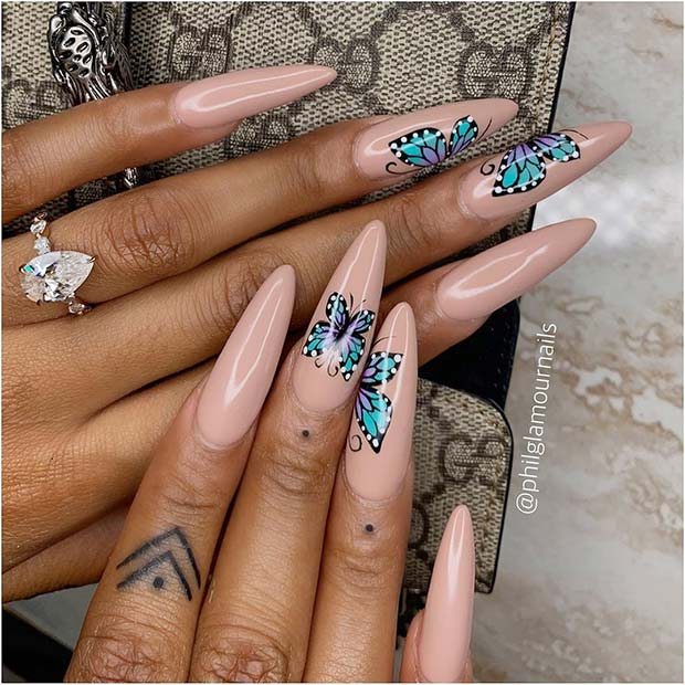 Long Nails with Pretty Butterflies