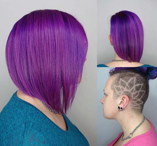 Long Purple Bob with Patterned Undercut