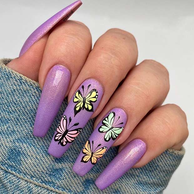 Long Purple Nails for Spring
