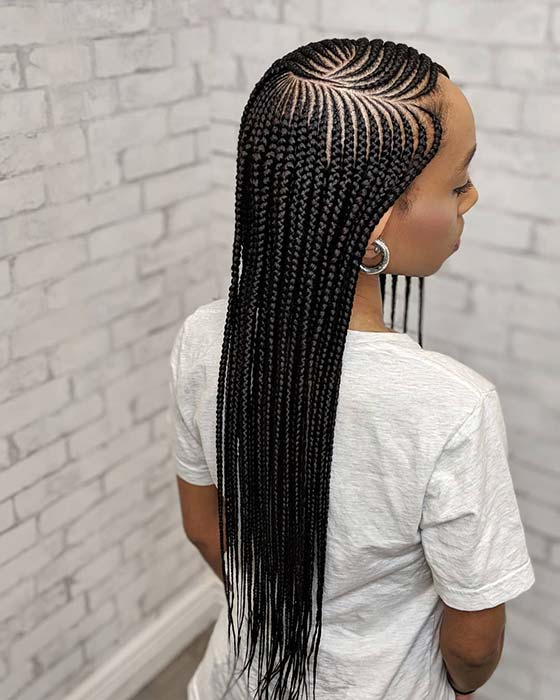 Long and Stylish Feed in Braids