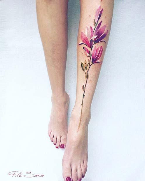 Magnolia Flower - Leg Tattoos for Women