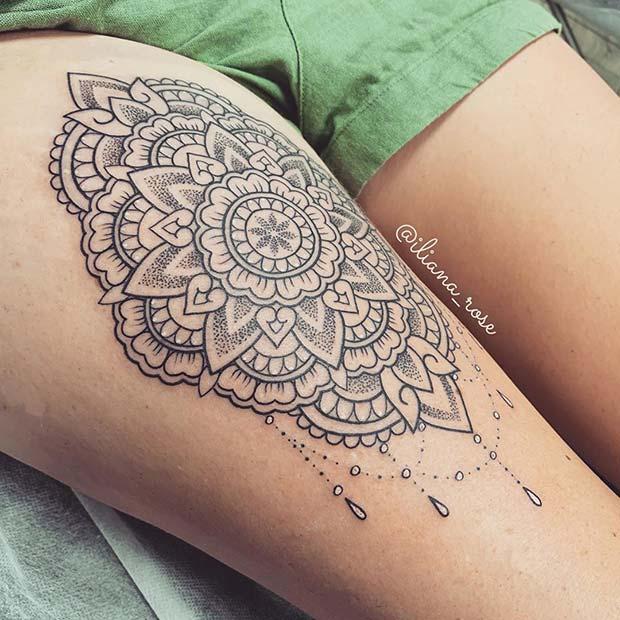 Mandala Thigh Tattoo Idea
