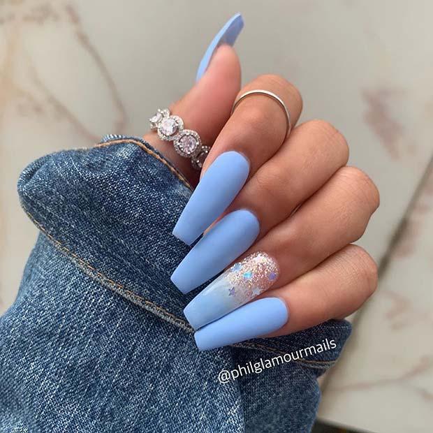 Matte Light Blue Nails